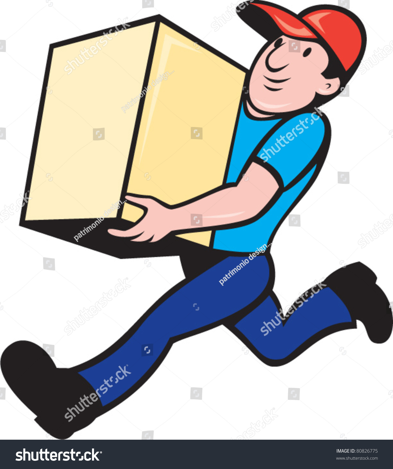 Illustration Delivery Person Worker Running Delivering Stock ...