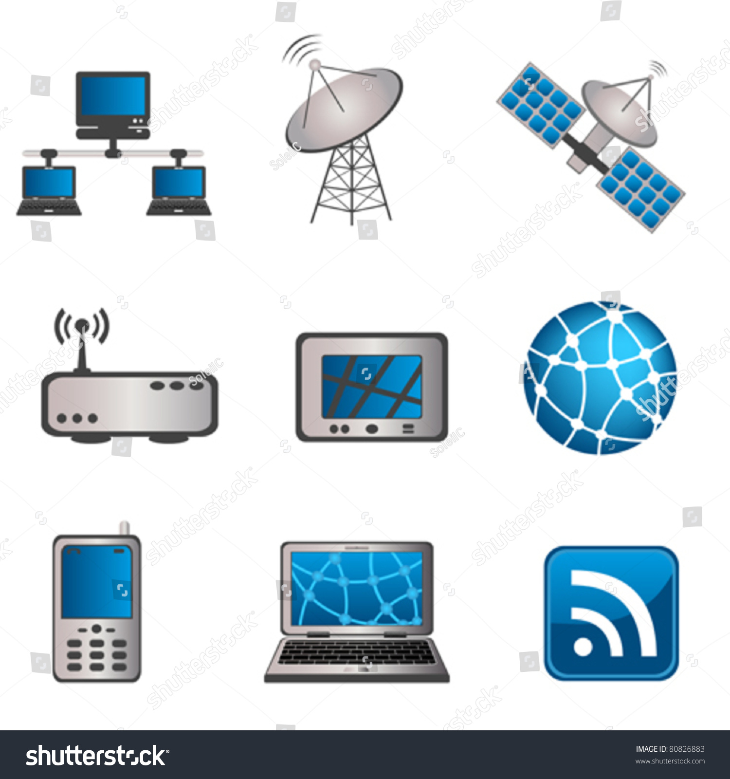 Communication Technology Computer Icon Set Stock Vector
