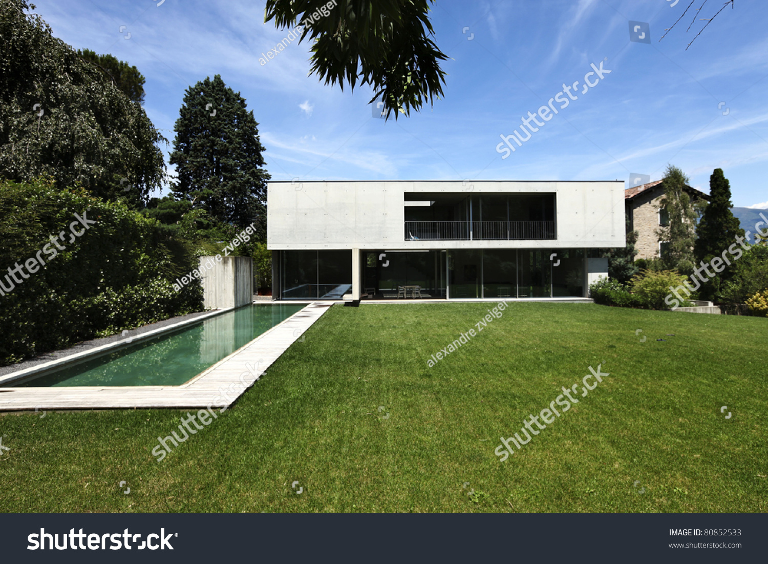 Beautiful Modern House Outdoors Pool Garden Stock Photo 80852533 ... - ^