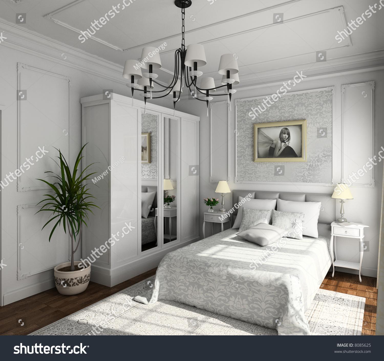 Renders 3d For Master Bedroom Project: Classic Design Interior Bedroom 3d Render Stock