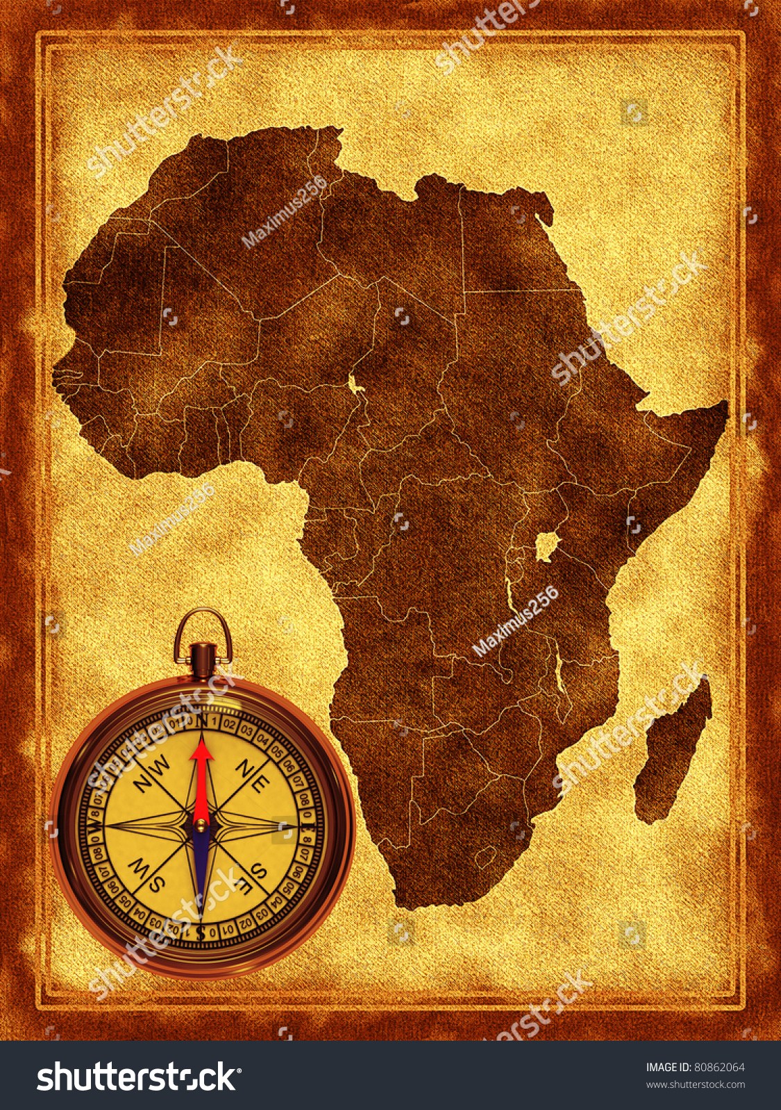 map of africa on the old background stock photo 80862064