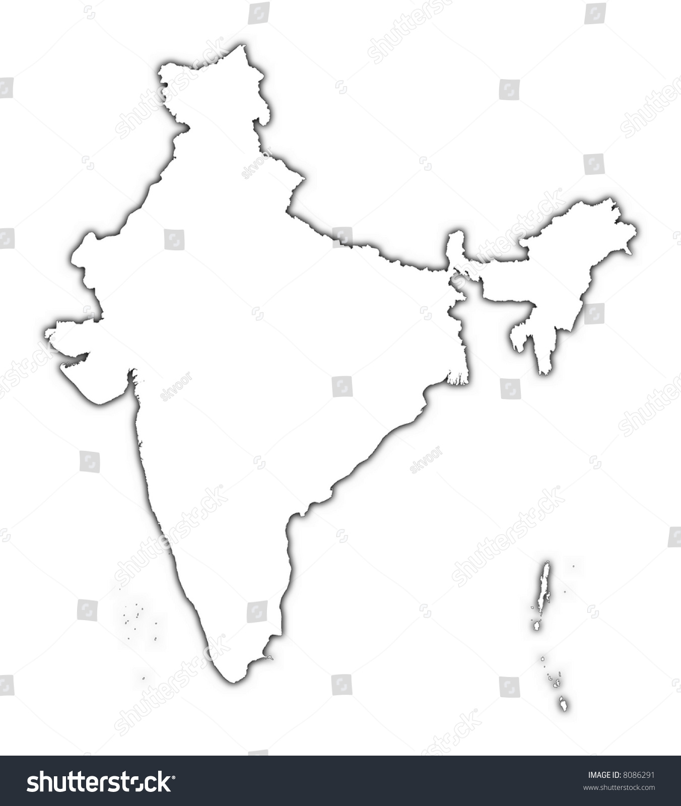 india outline map shadow detailed mercator stock illustration