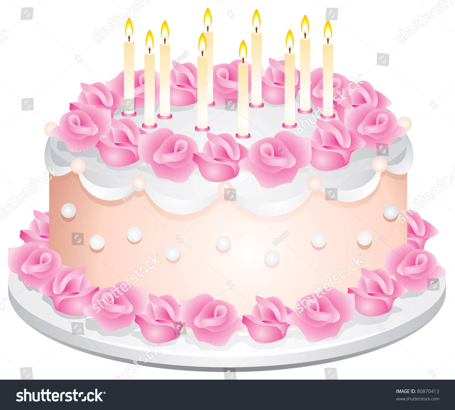 Fine Birthday Cake Candles Cream Roses Vector Stock Vector Royalty Funny Birthday Cards Online Alyptdamsfinfo