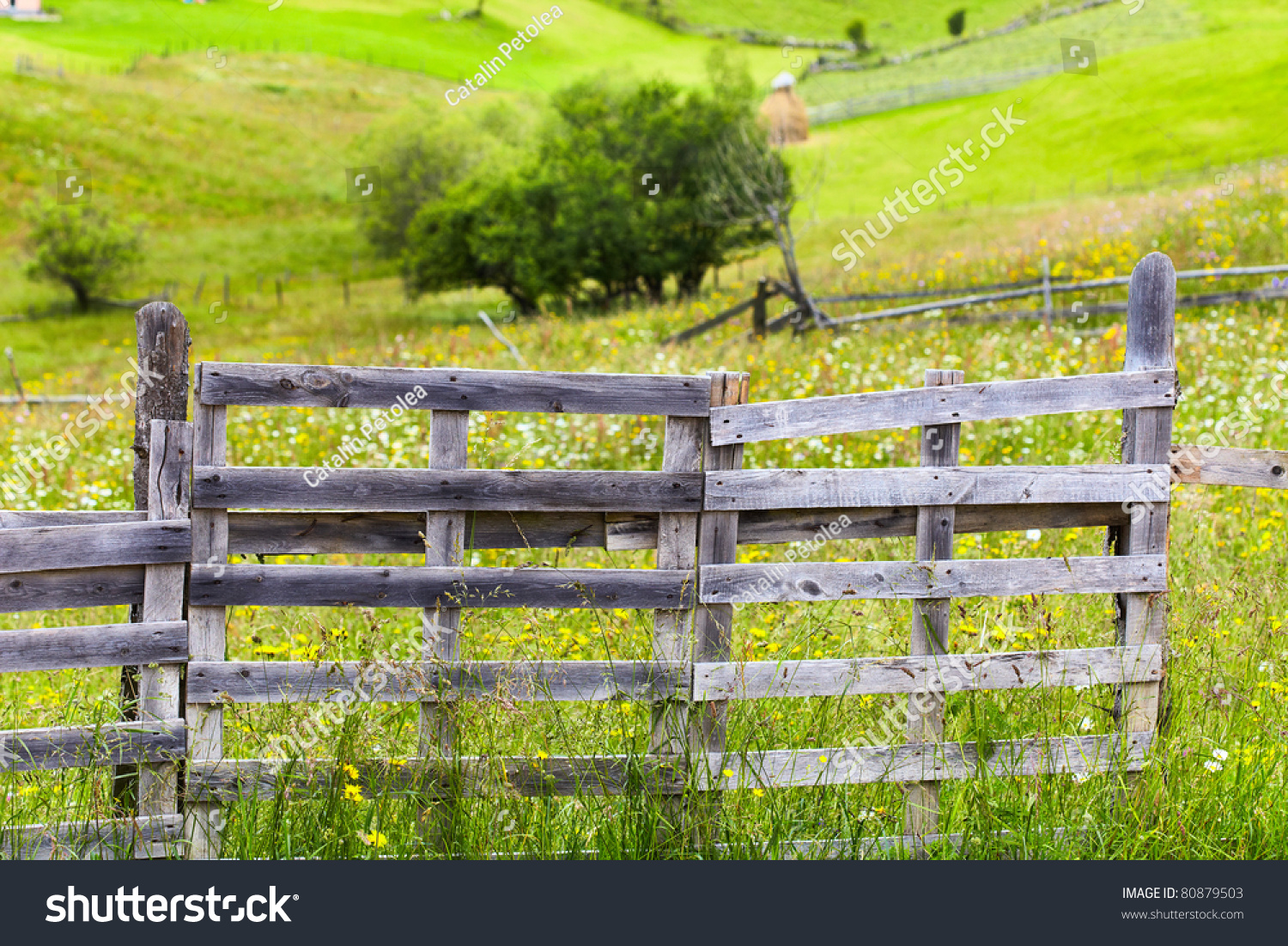 Old Wooden Fence And Gate At A Farm In The Mountains Stock