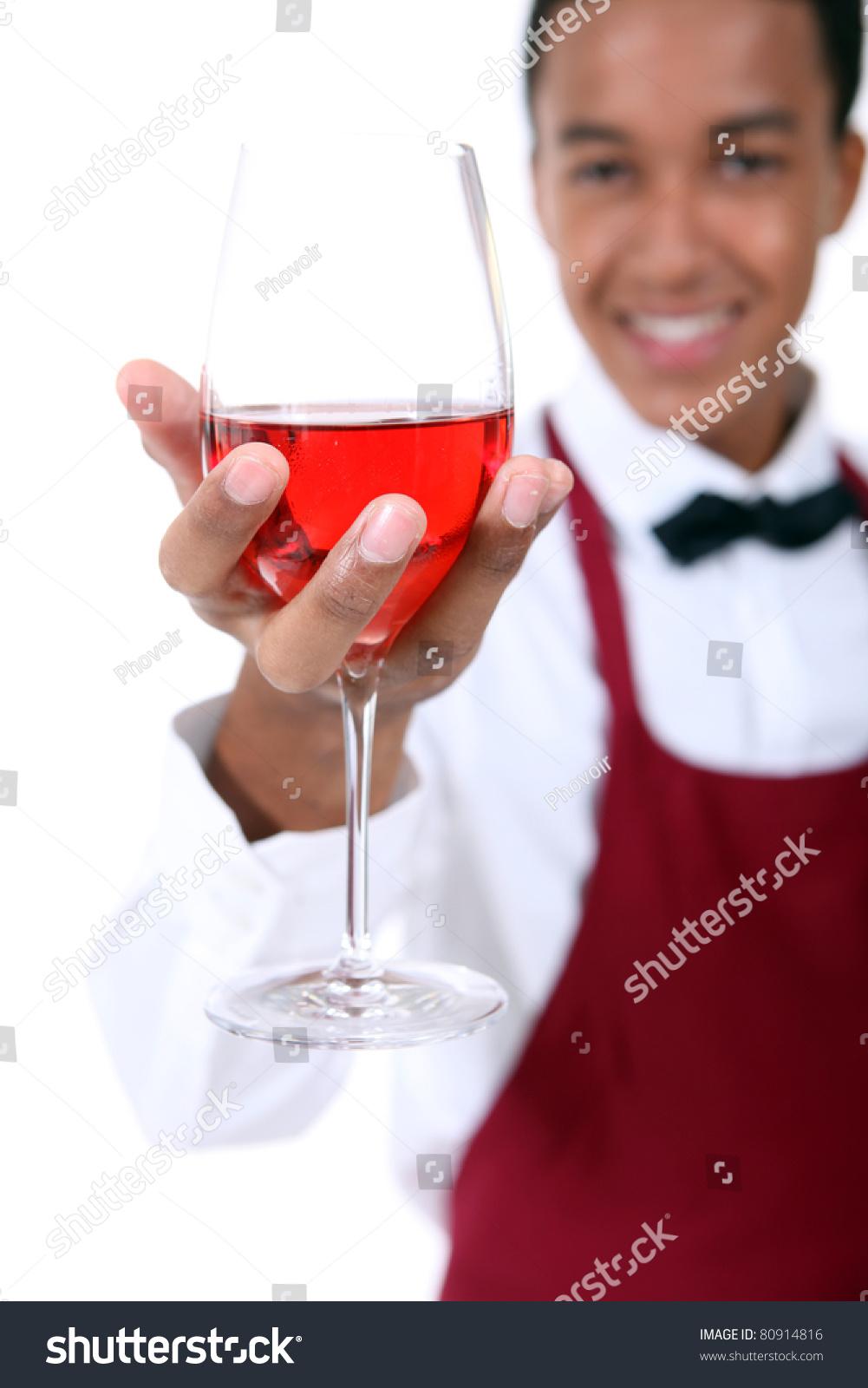 Sommelier Holding Wine Glass Stock Photo 80914816