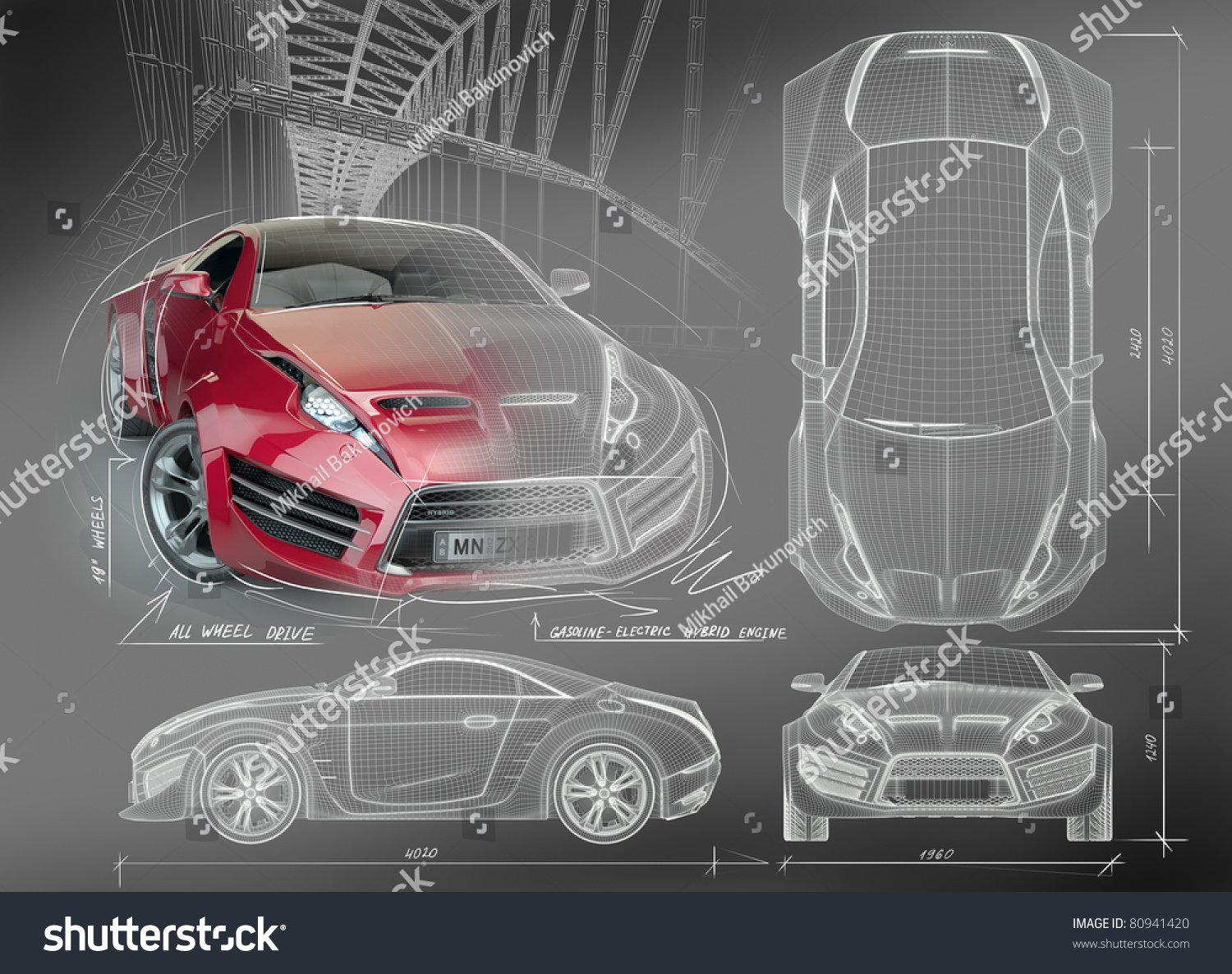 16 best blueprints concept cars images on pinterest cars a blueprint of a red concept car displays the car from four different angles malvernweather Choice Image