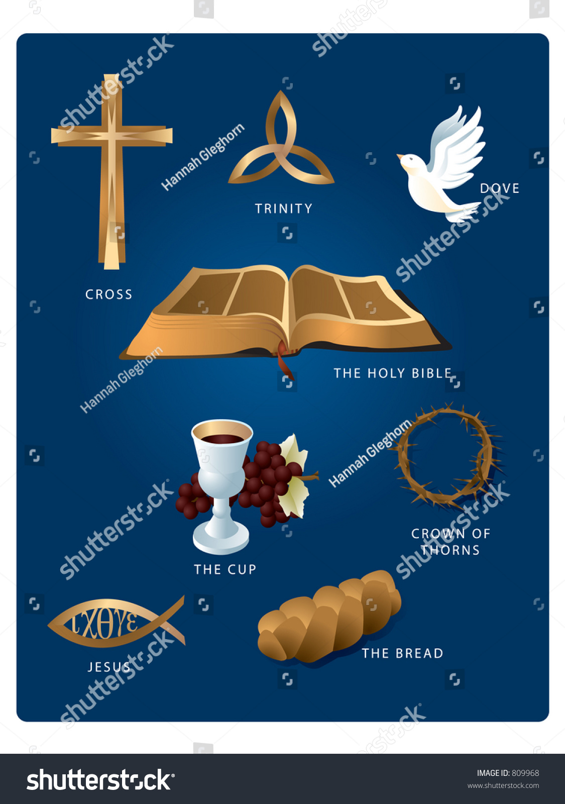Christian icons cross dove bible wine stock vector 809968 for Fish in the bible