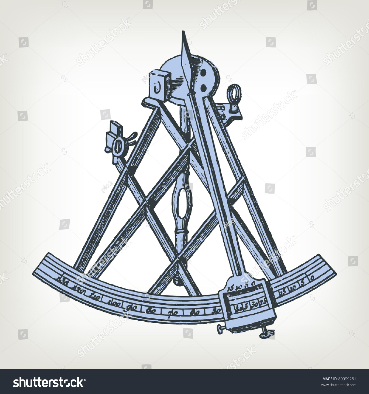 Engraving Vintage Sextant The Complete Encyclopedia Stock Vector ...
