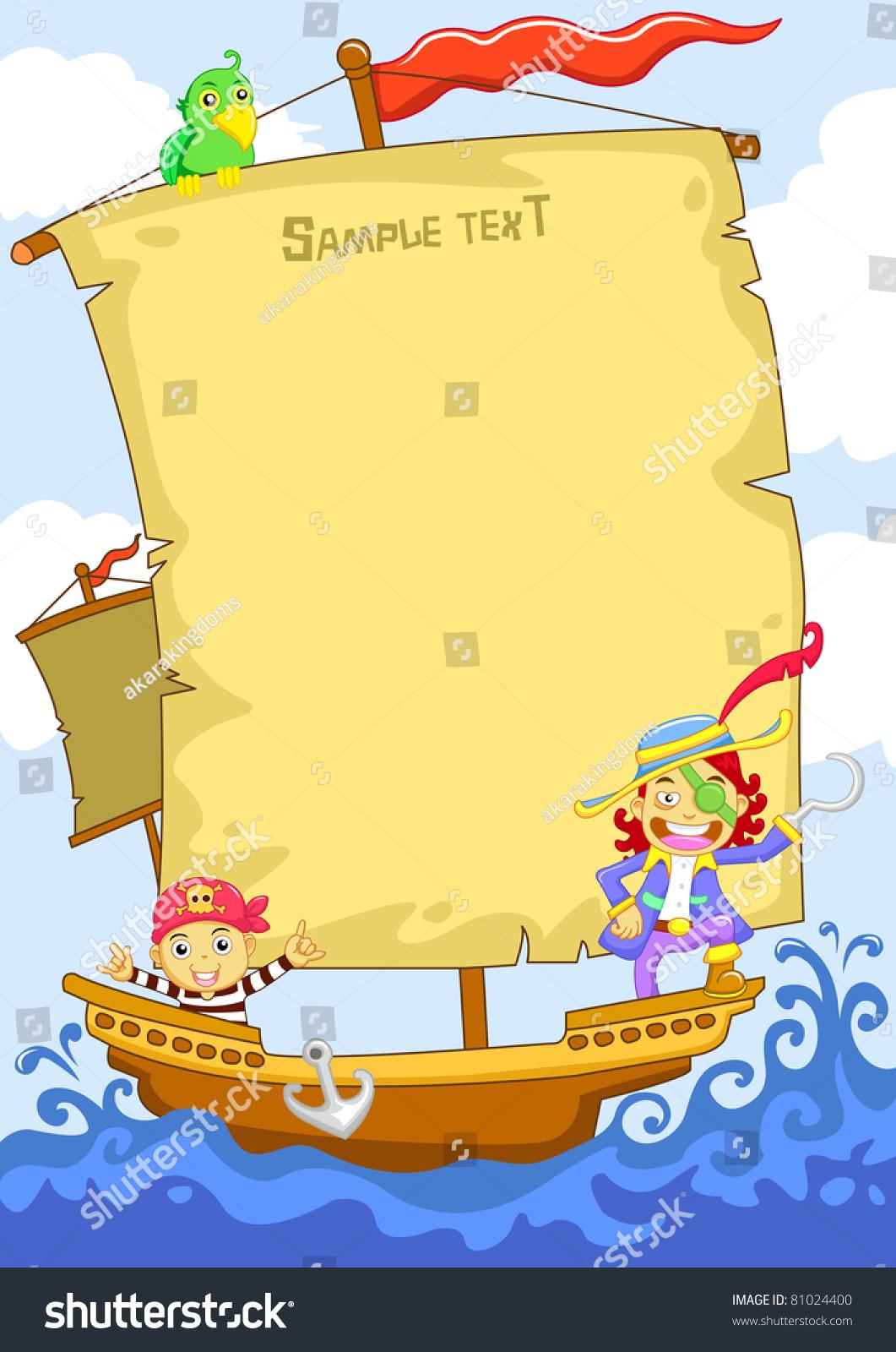 Happy Pirate Cartoon Frame Stock Vector (2018) 81024400 - Shutterstock