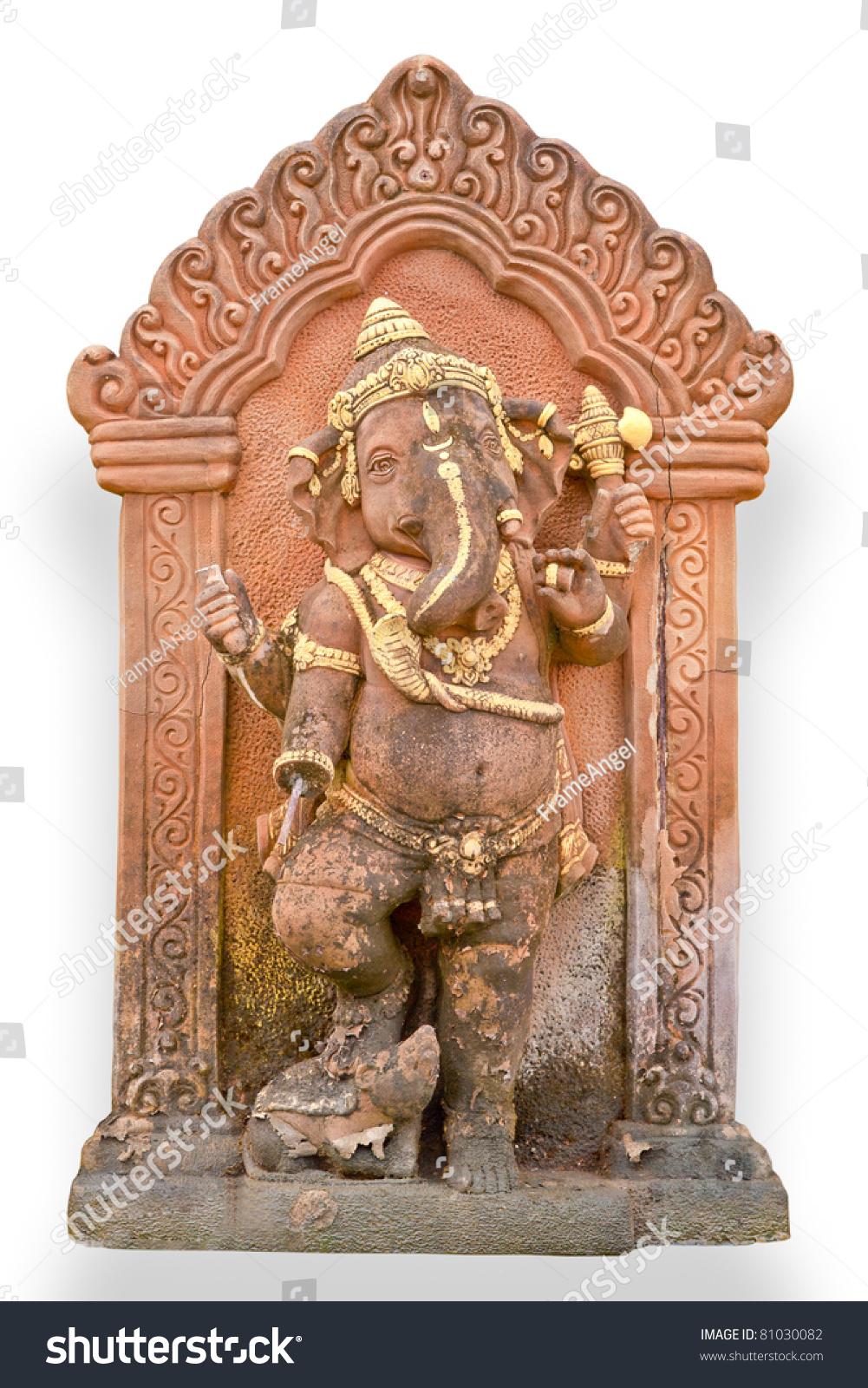 Old Hindu God Ganesha Sculpture Thailand Stock Photo (Edit