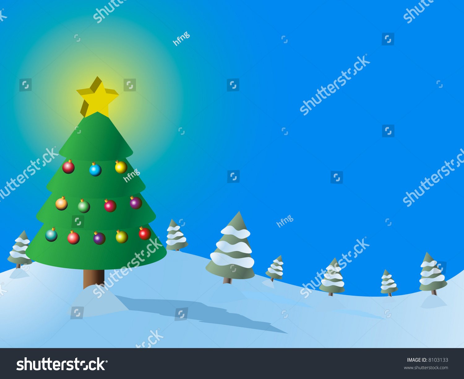 high resolution jpeg christmas tree forest stock illustration