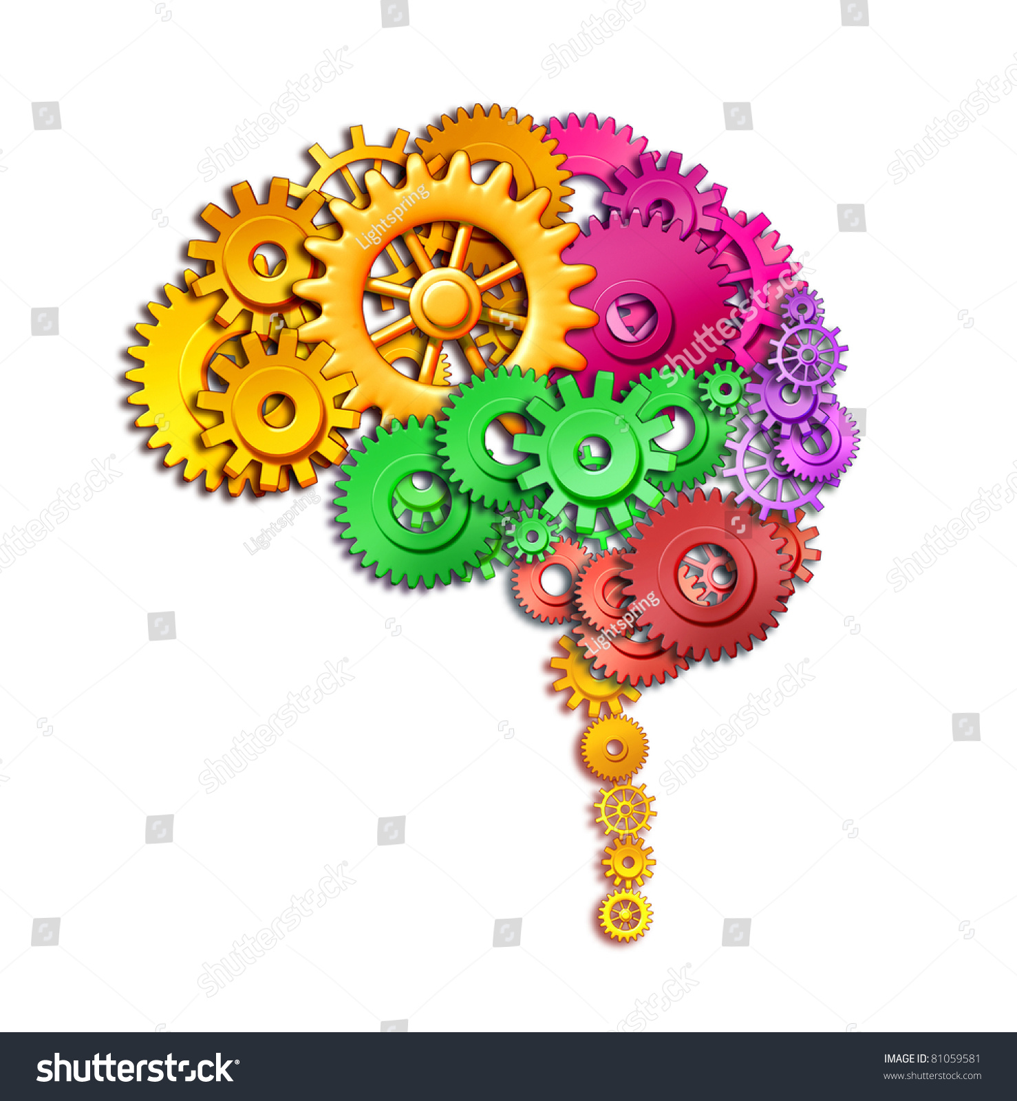 Brain Lobe Sections Multi Color Divisions Stock Illustration ...