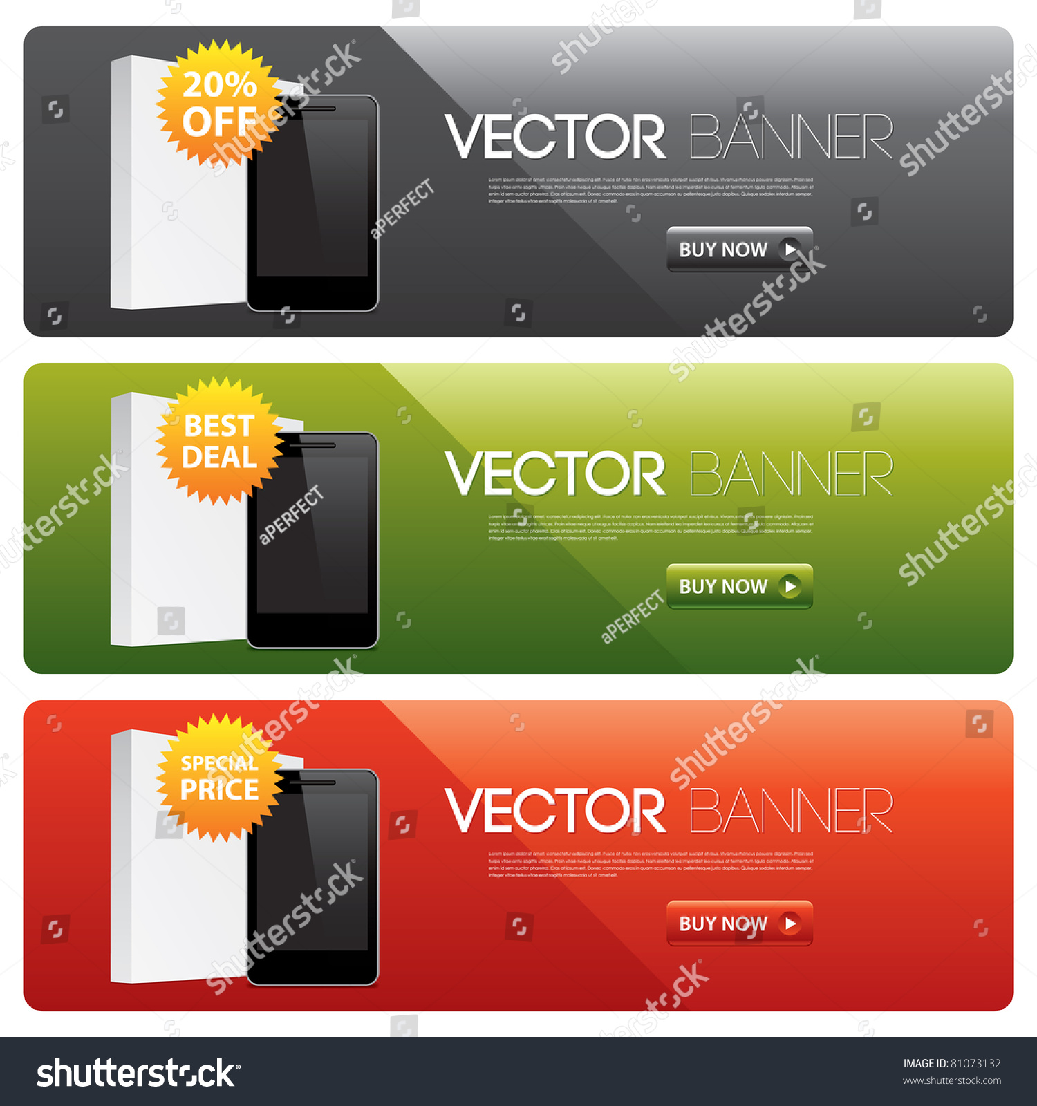 Vector website banners for software products 81073132 Vector image software