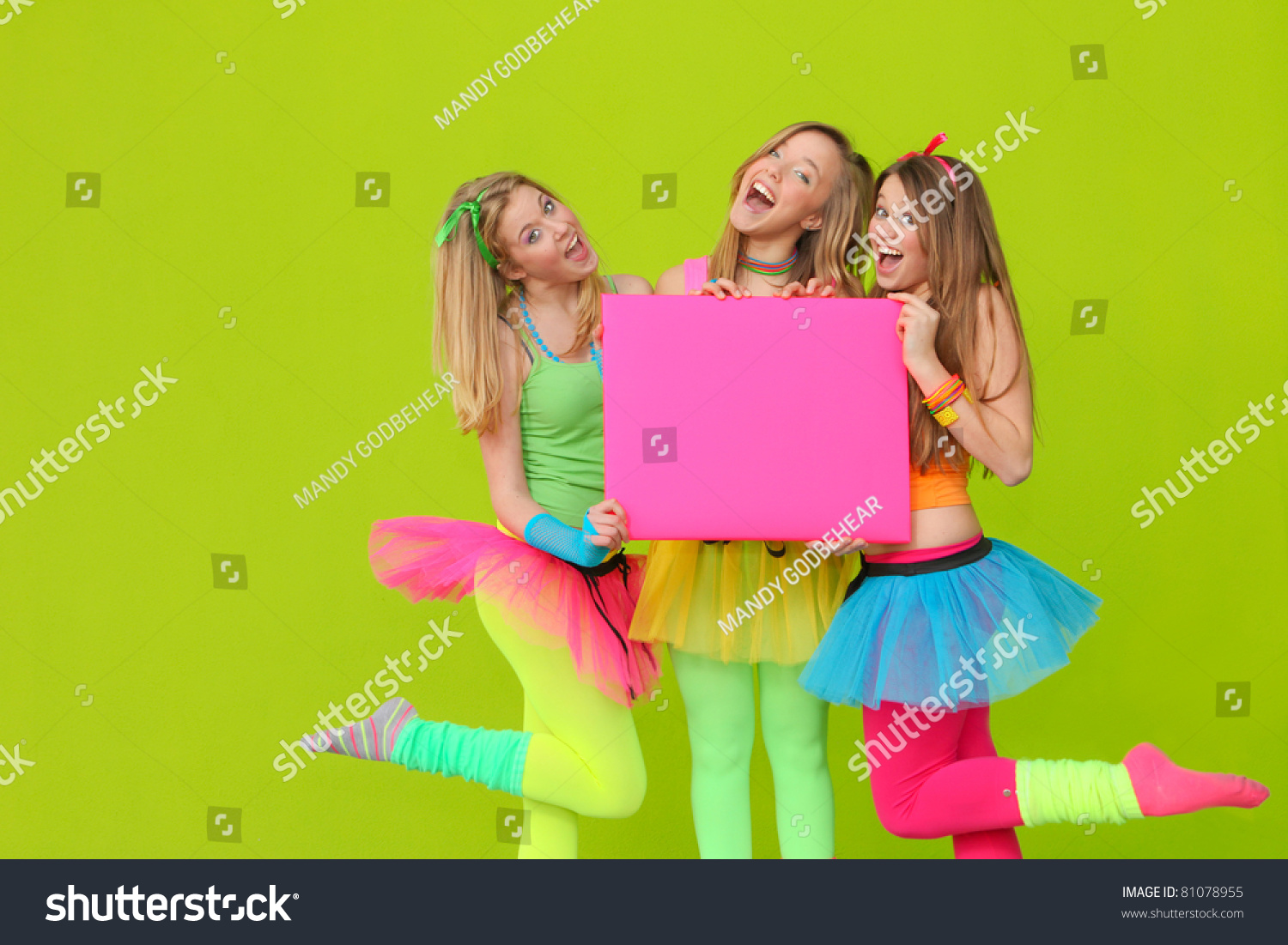Happy Party Teen Girls Neon Fancy Stock Photo 81078955 - Shutterstock