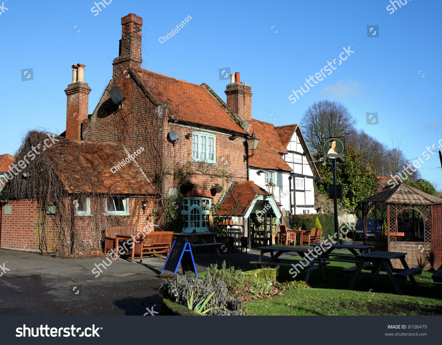 quaint english village inn seating area stock photo 8108479