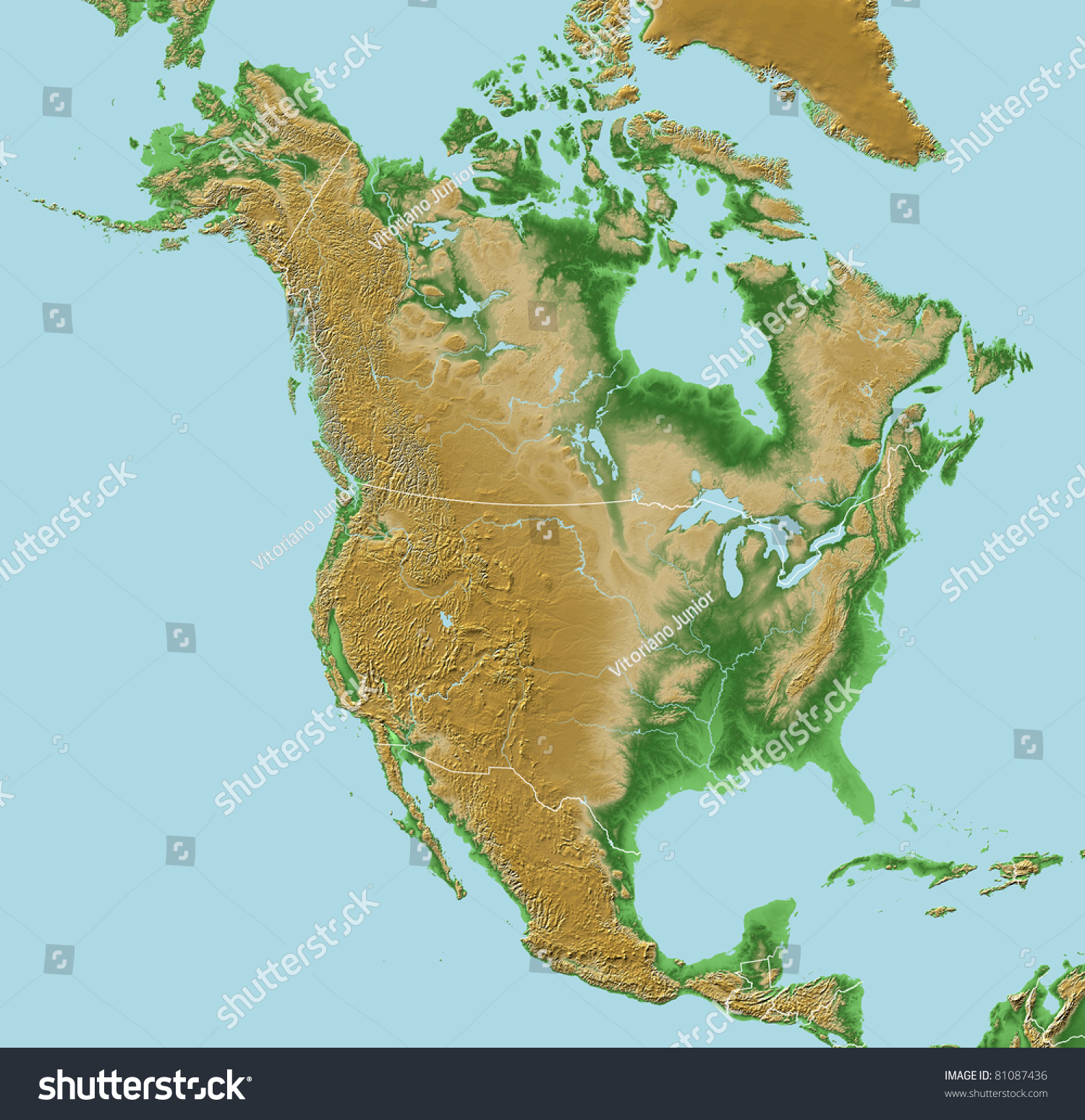 N Home Elevation Usa : Elevations north america map relief national stock
