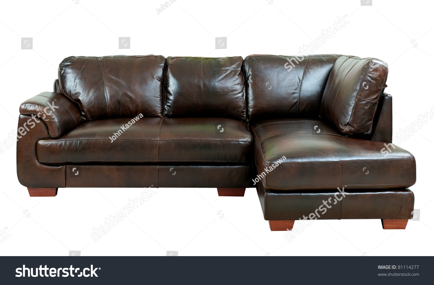Great Luxury Of The Dark Brown Leather Sofa Bench Isolated