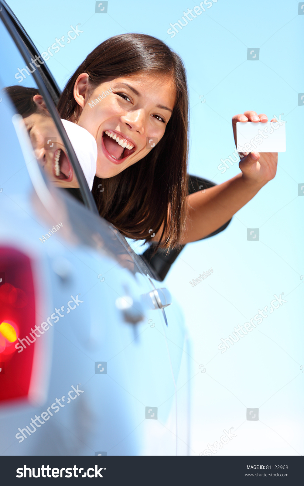 Young Woman Car Showing Blank Drivers Stock Photo 81122968 - Shutterstock-6276