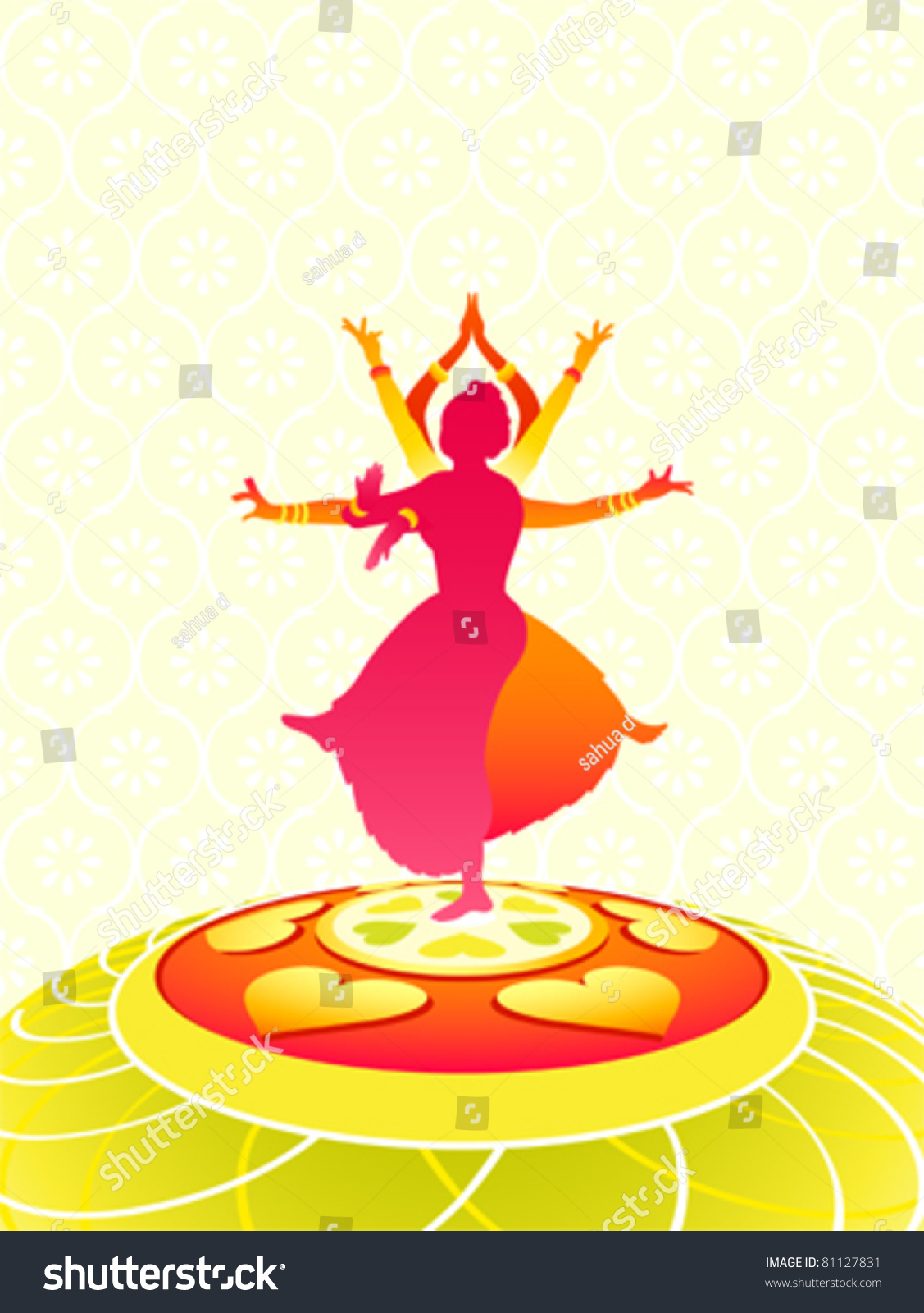 Dancing Women Greeting Card Onam Holiday Stock Vector Royalty Free