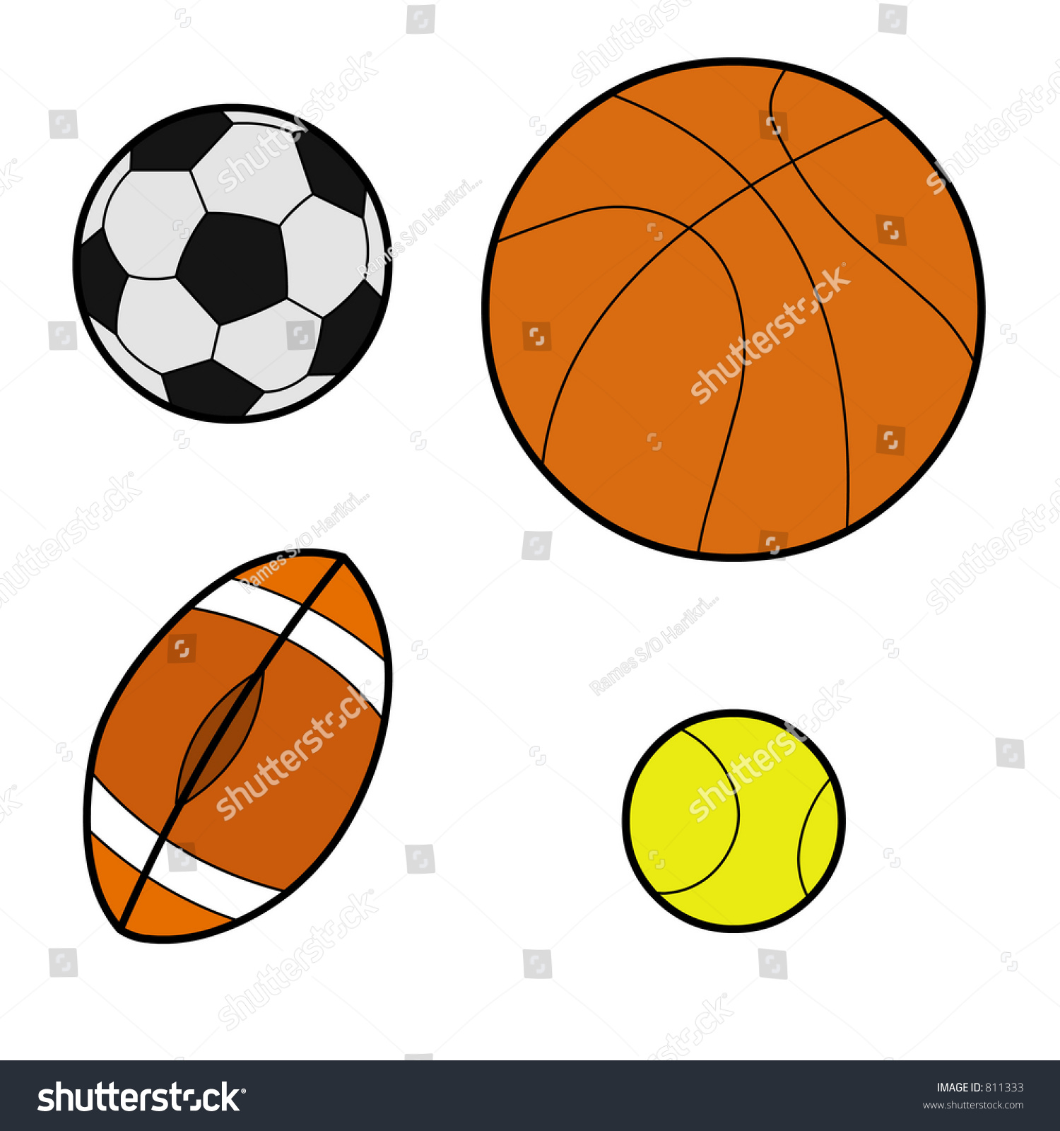 Featuring All Types Balls Basket Ball Stock Illustration