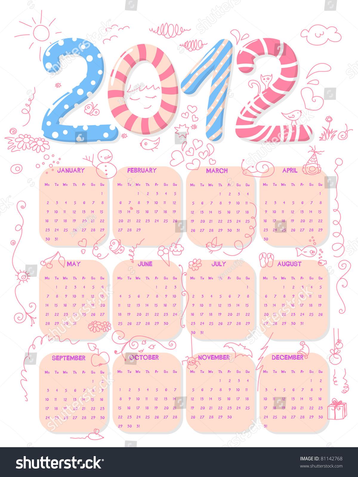 Calendar Girly : Cute girly calendar doodles week stock illustration