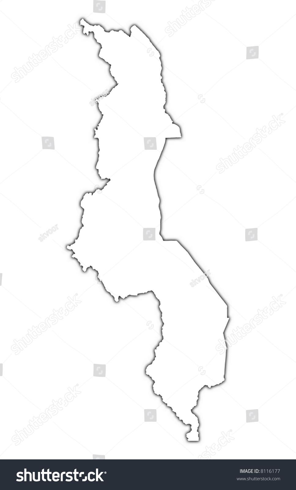 Malawi Outline Map Shadow Detailed Mercator Stock Illustration - Malawi blank map