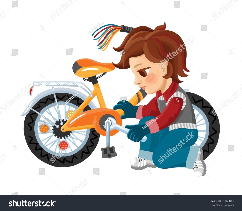 Cartoon Boy Repair His Bicycle Stock Illustration 81169843