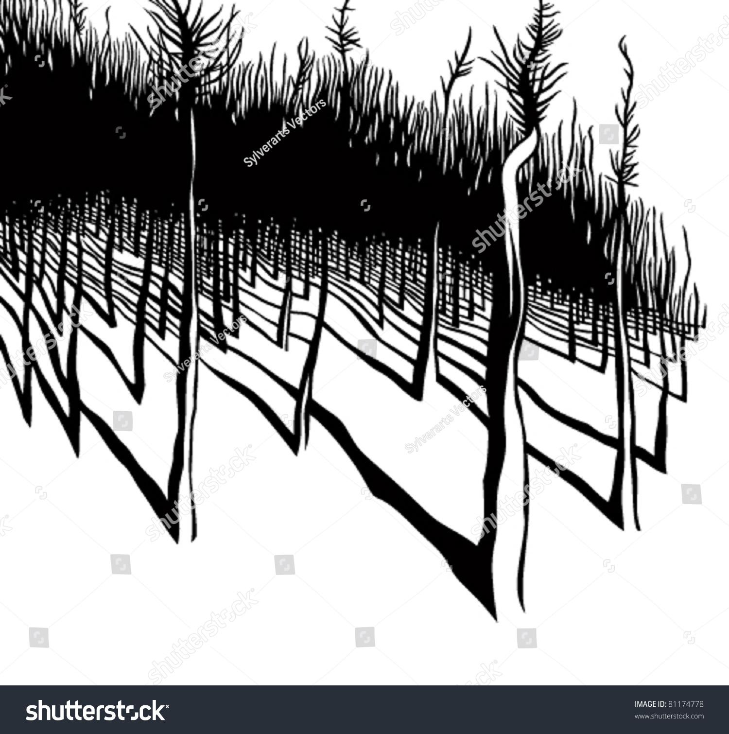 Forest Black White Vector Illustration Stock Vector 81174778 ...