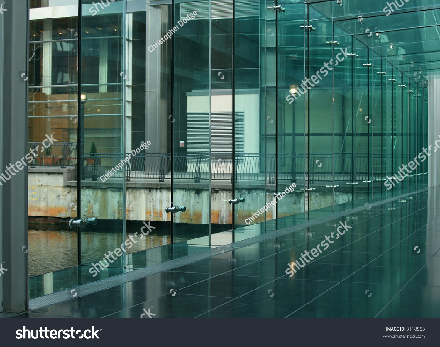 Exterior Glass Wall Inside Modern Building Stock Photo