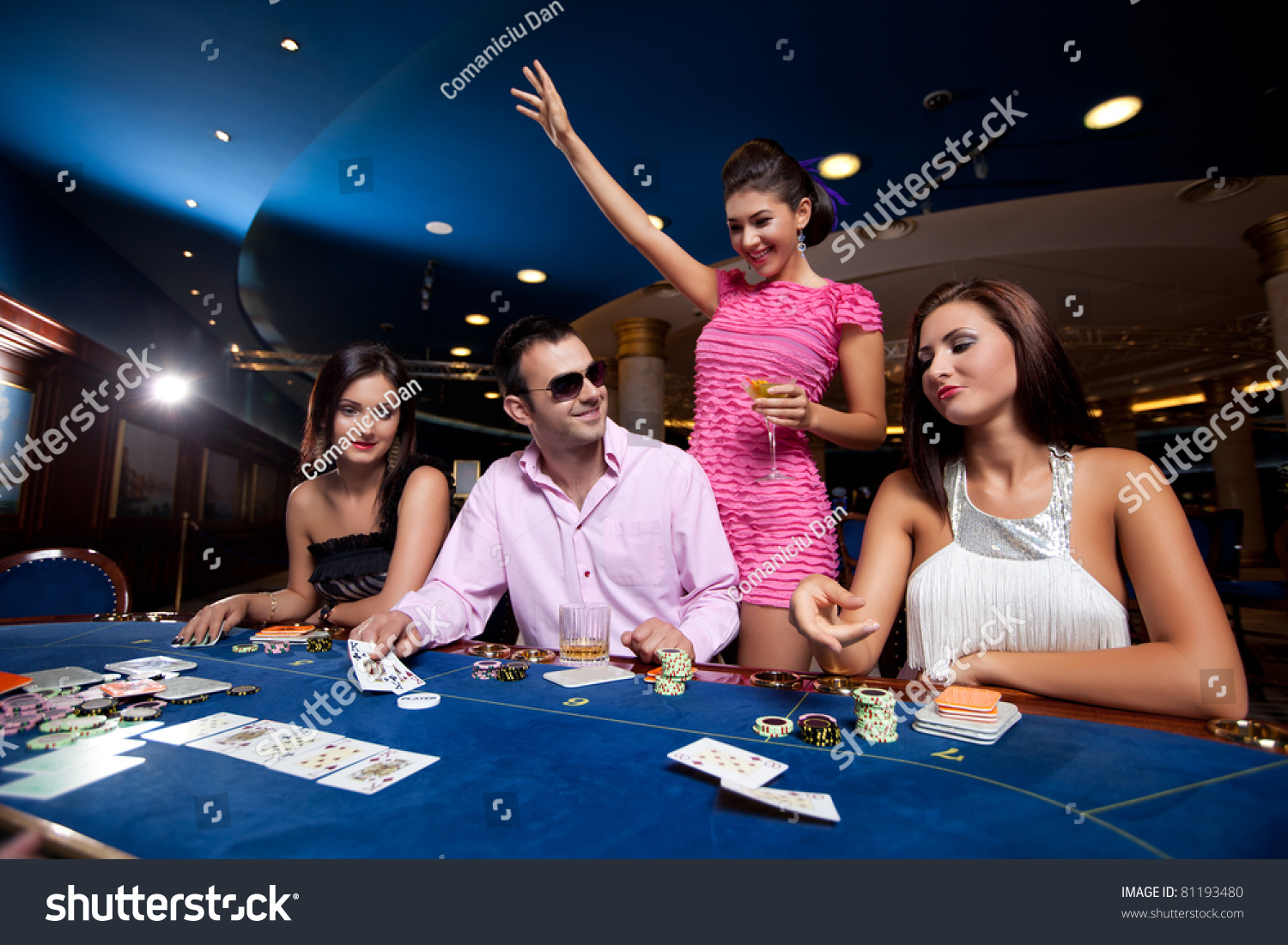 Playing poker in a casino