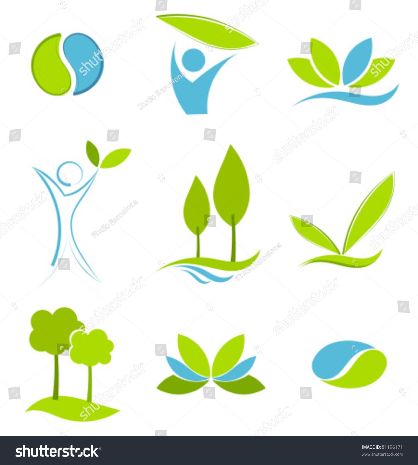 Green Blue Symbols Eco Life Water Stock Vector 81196171 ... Green Earth Logo Vector