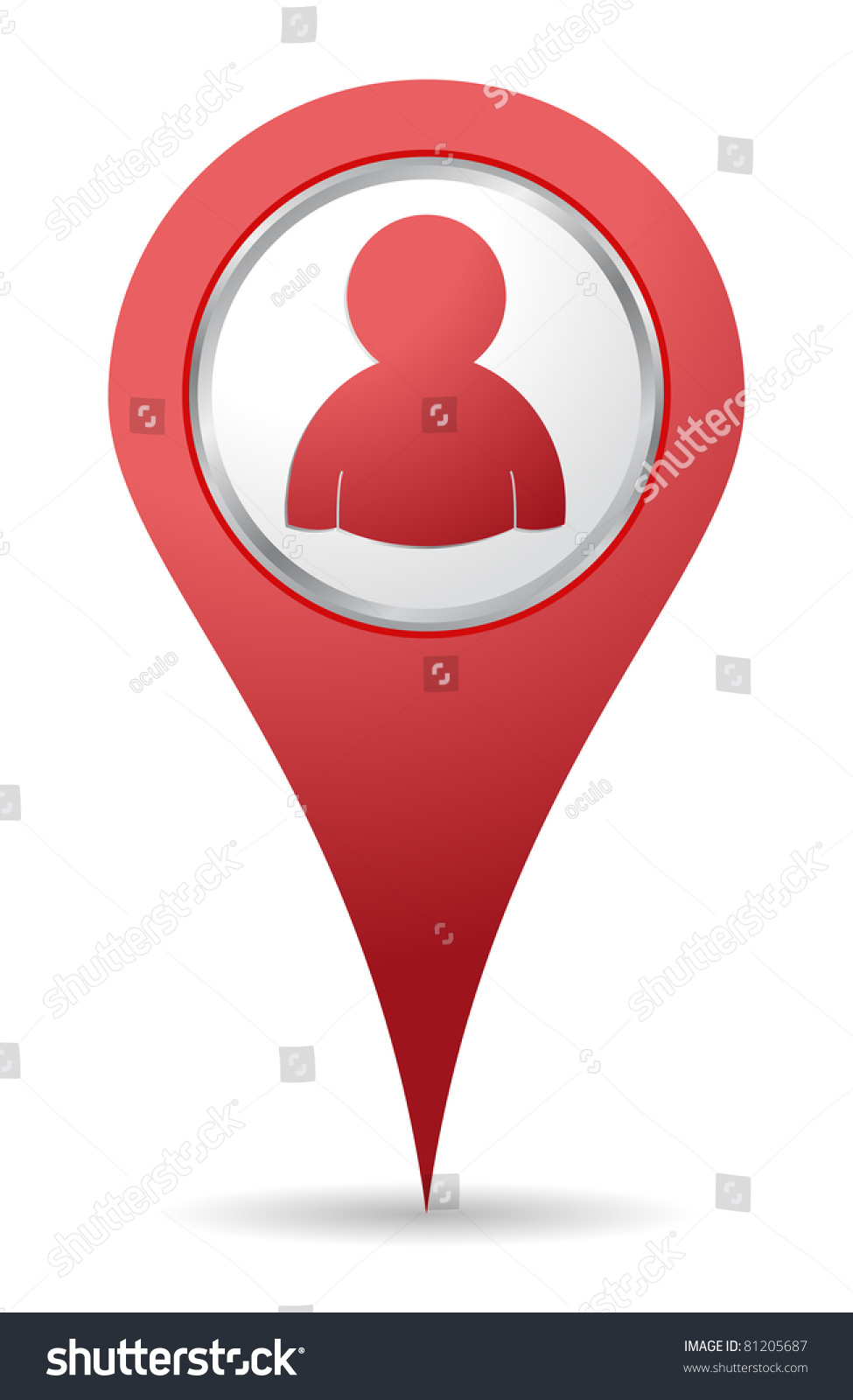 Location People Icon Red Color Stock Vector 81205687 ...