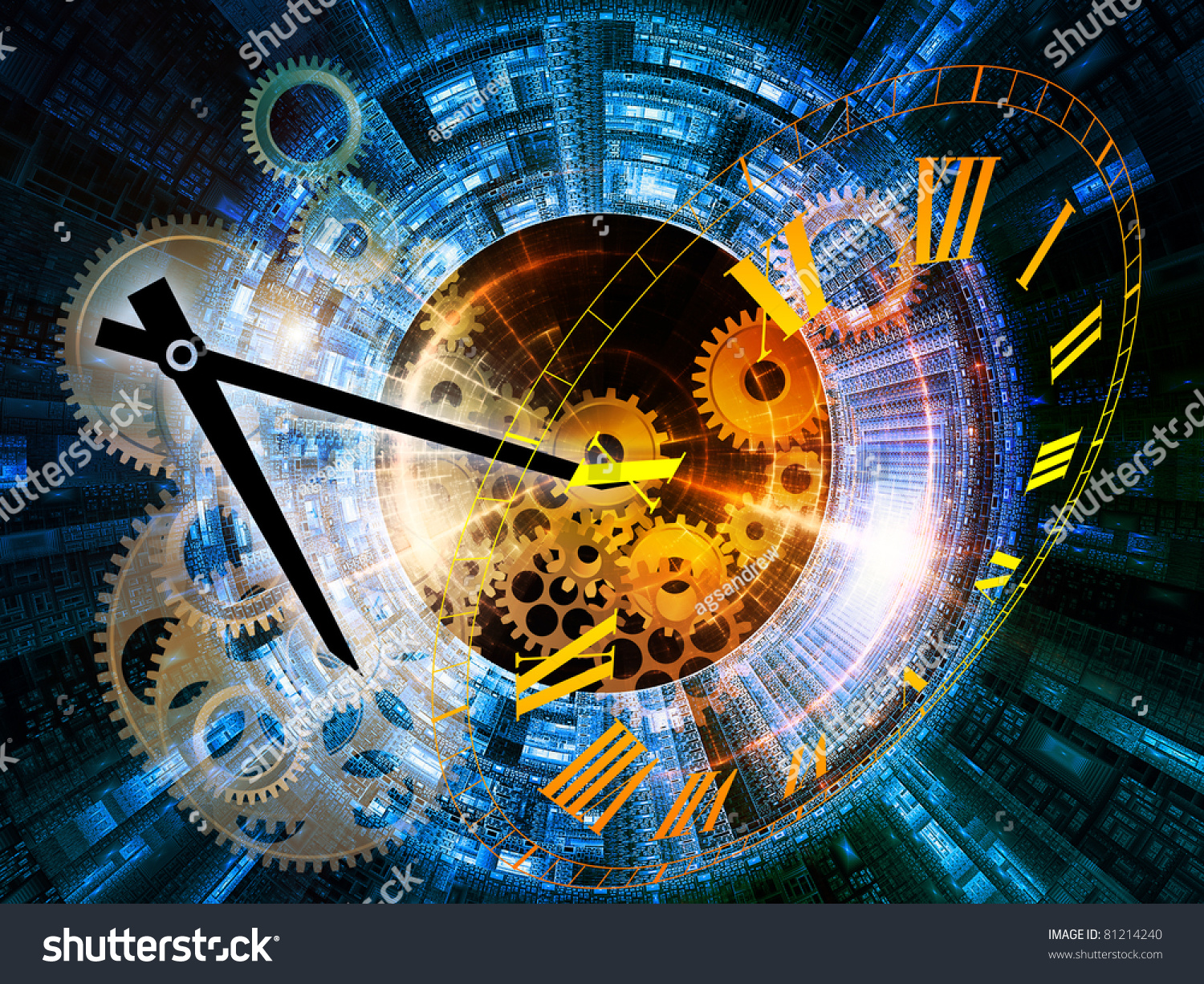 Abstract Interplay Of Clock Symbols And Graphic Elements ...