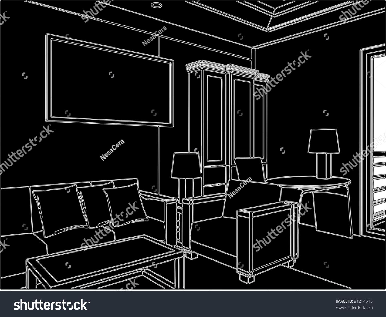 Modern Living Room Vector 05 Stock Vector 81214516