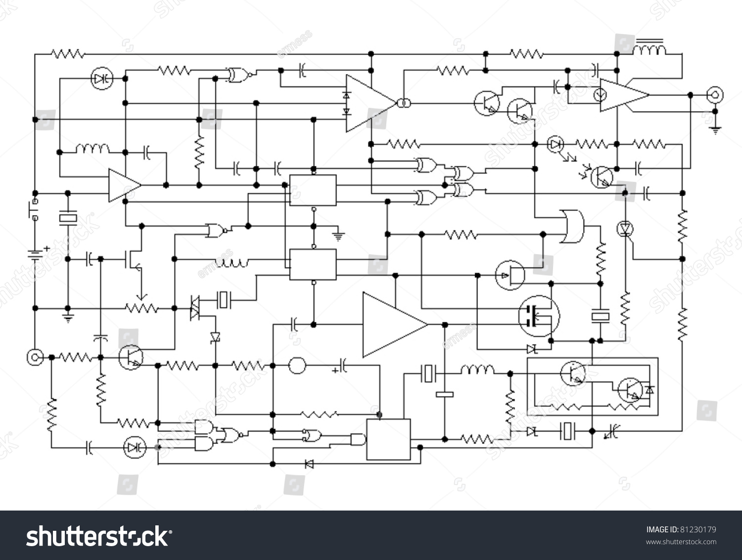 schematic diagram project electronic circuit graphic stock vector schematic diagram project of electronic circuit graphic design of electronic components and semiconductor