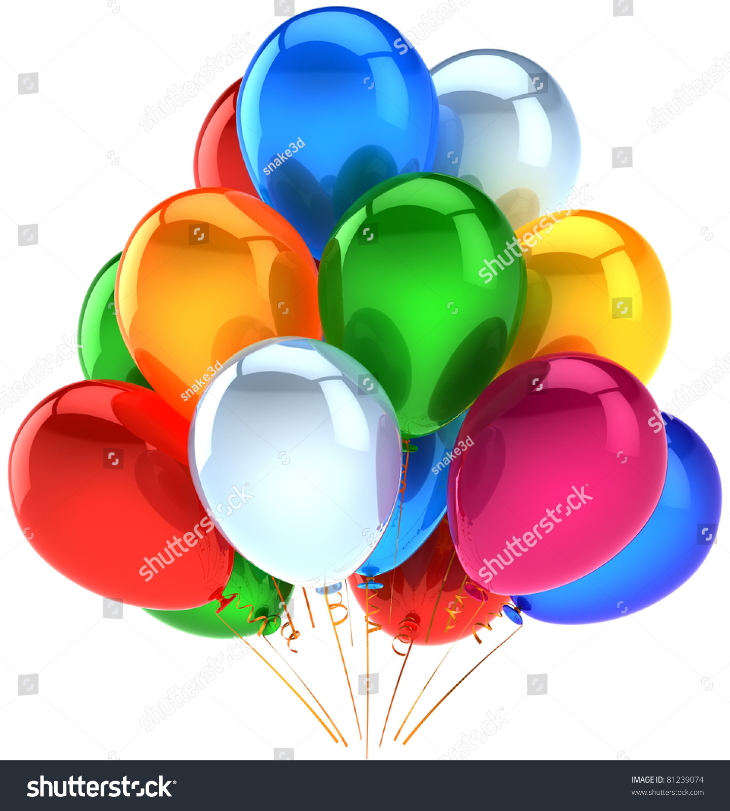 Party Birthday Balloons Celebrate Decoration Multicolor Stock