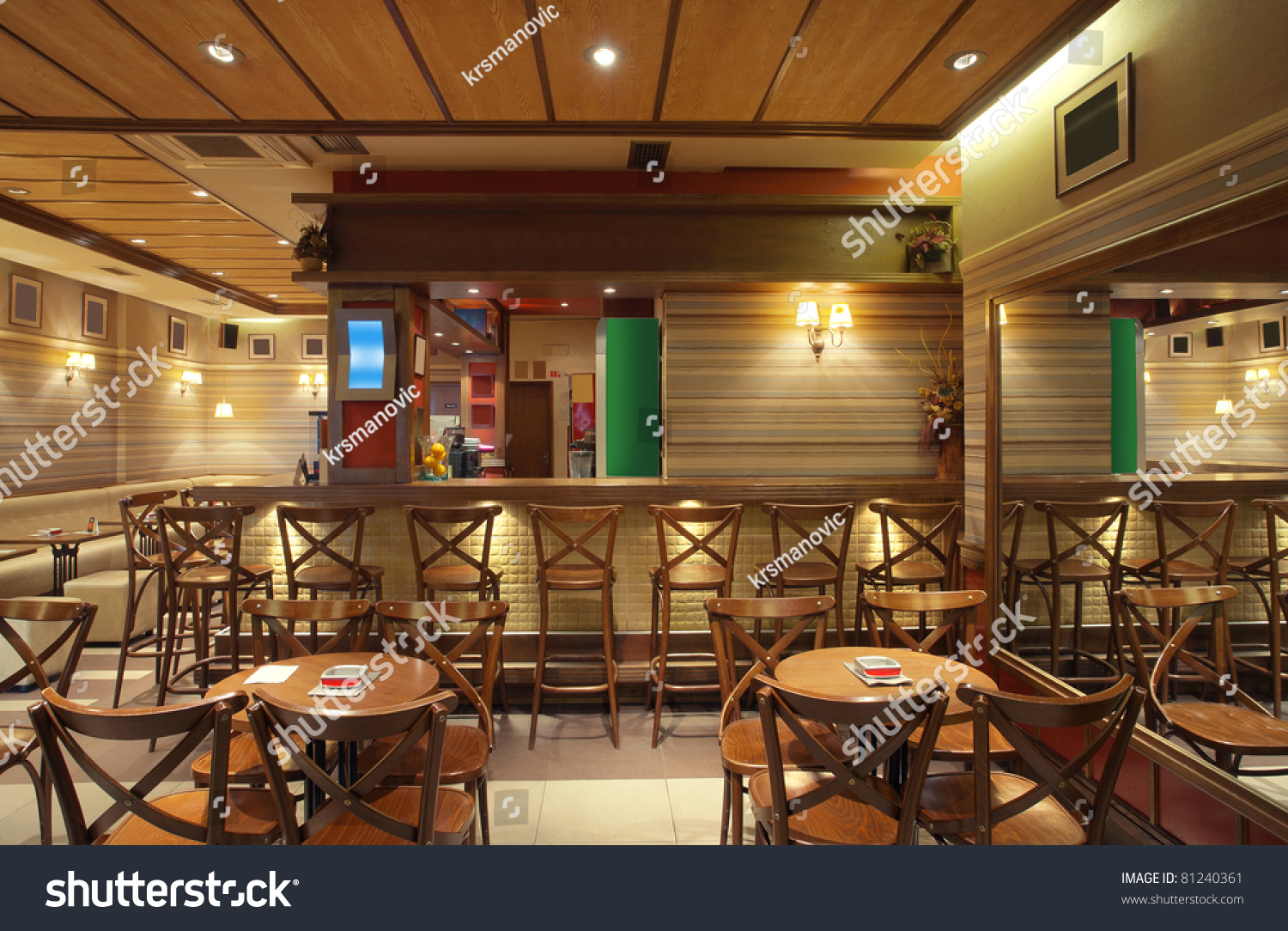 Cafe interior wooden furniture lighting equipment stock for Equipement cafe