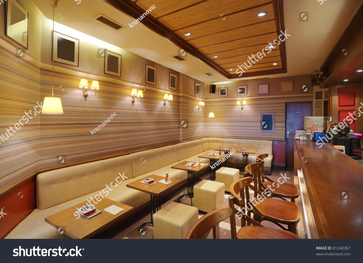 cafe interior wooden furniture lighting equipment stock photo