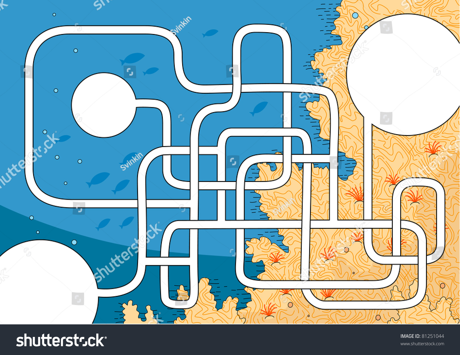 template easy coral reef maze kids stock vector royalty free