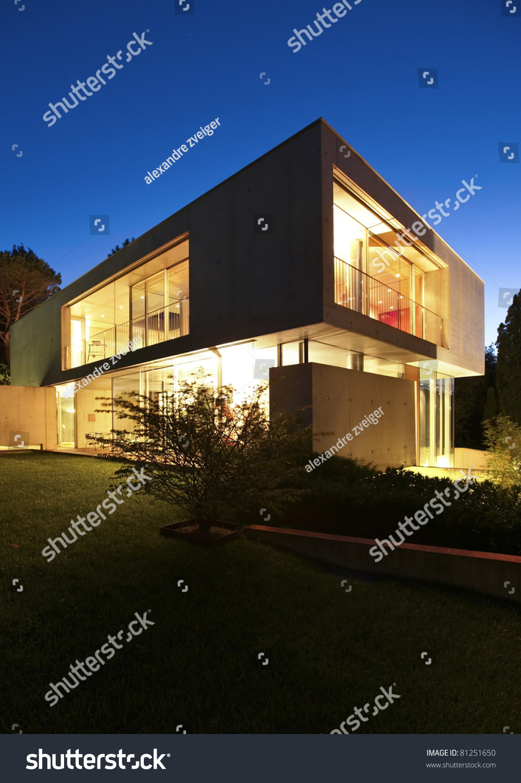 New architecture beautiful modern house outdoors at night for Modern house at night