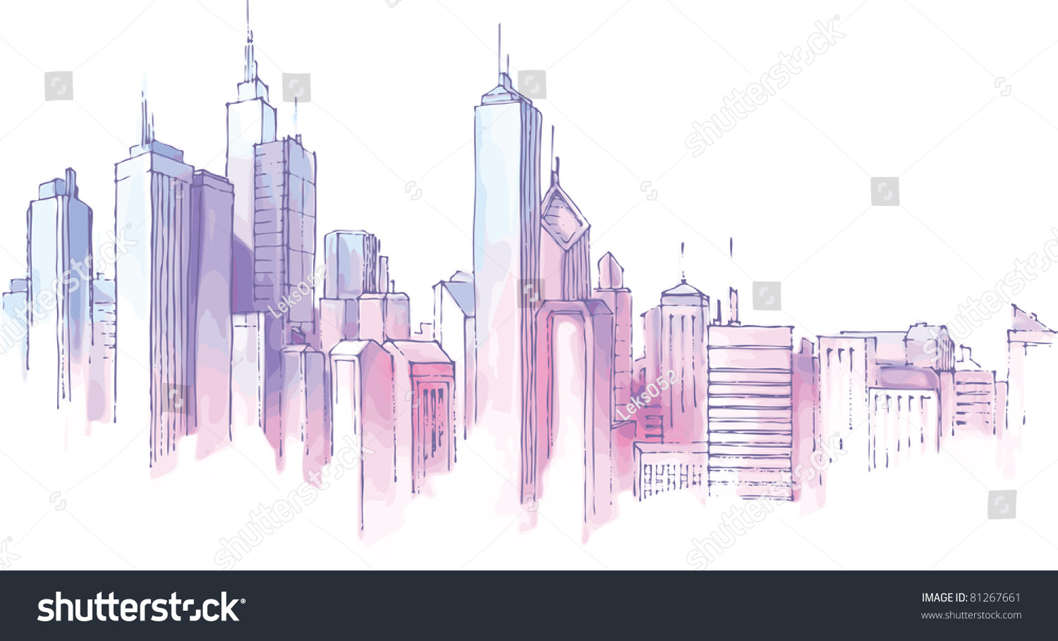 The hand-drown city skyline in a pastel shades. #81267661