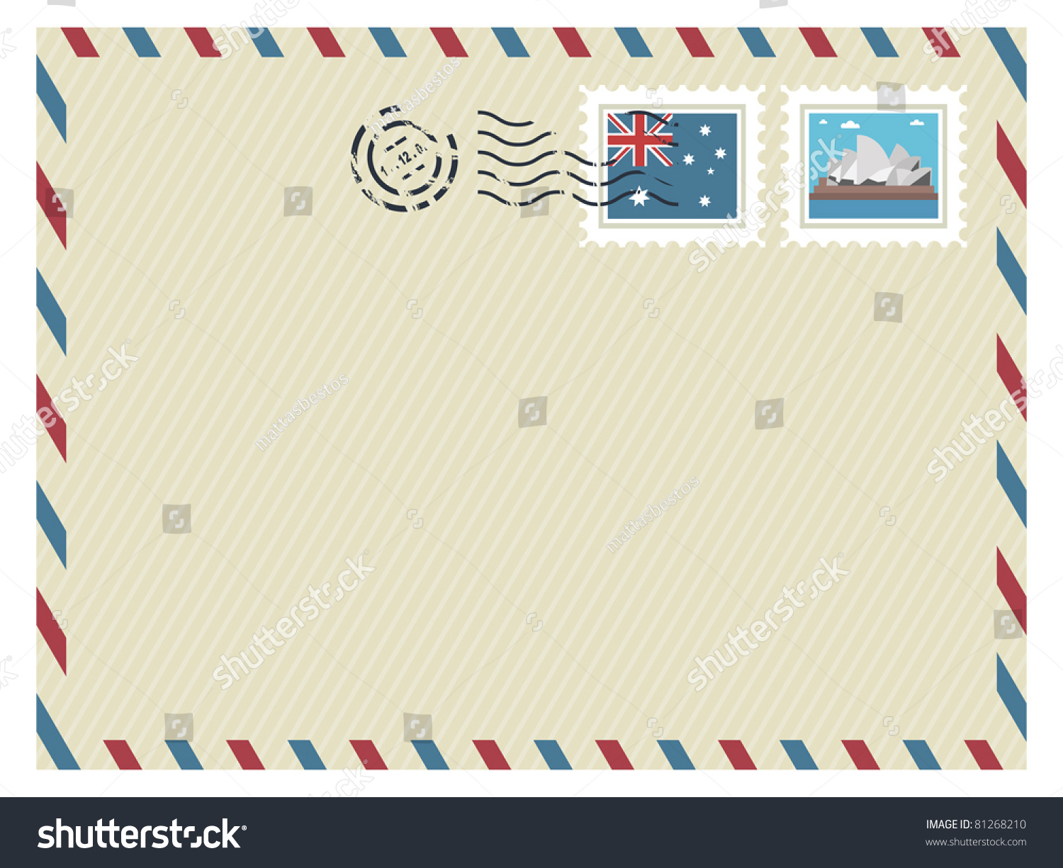Australia Airmail Envelope With Stamps Ready For Text Stock Vector ...
