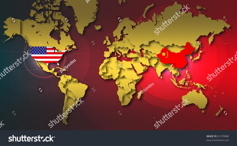 World Map Highlight China Usa Stock Illustration - China usa map