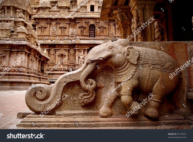 Stone carvings in hindu temple thanjavur tamil nadu