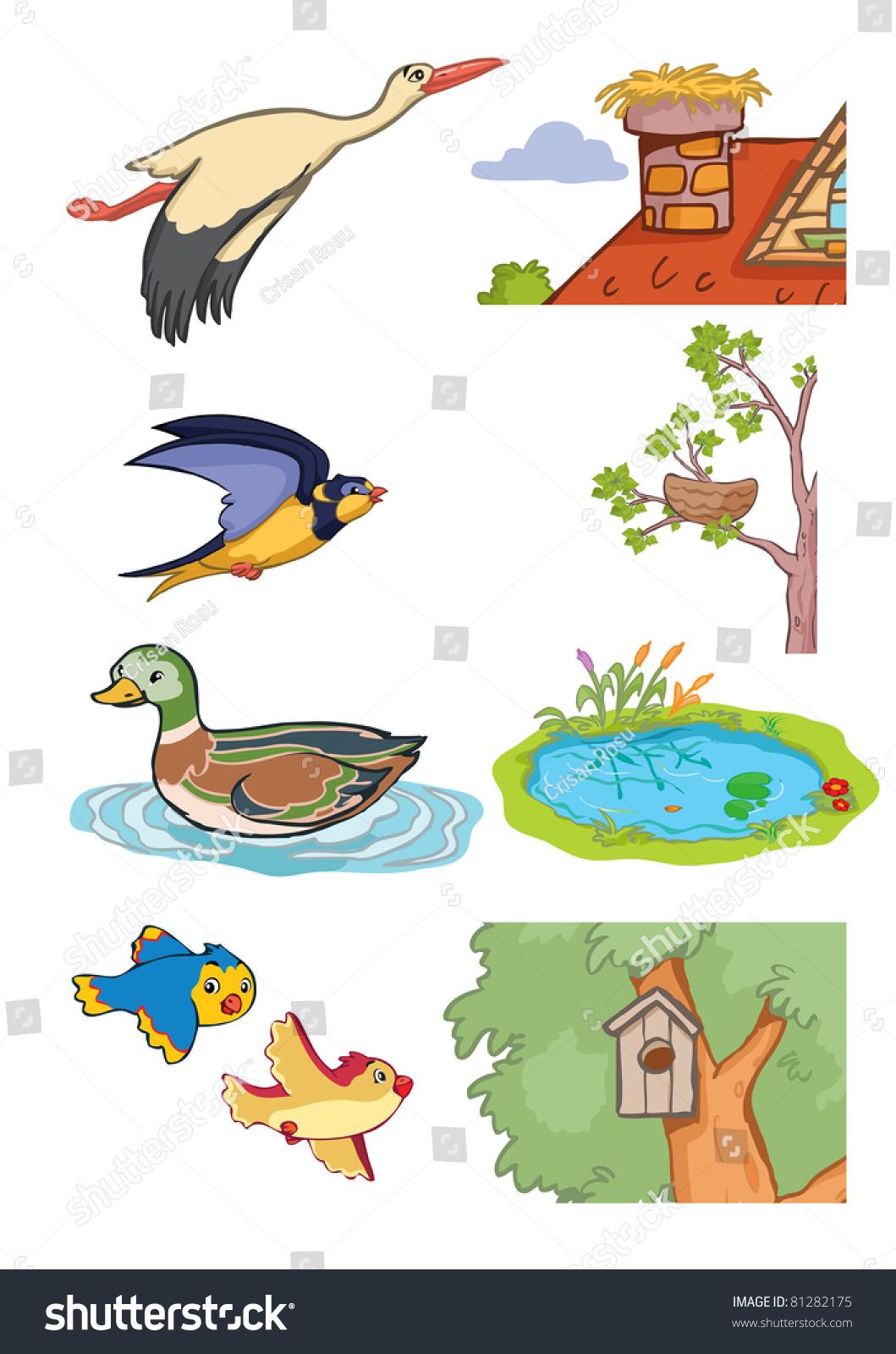 Stock Vector Vector Illustration Animals Habitat Cartoon Concept White Background on Kindergarten Animals Worksheets Water