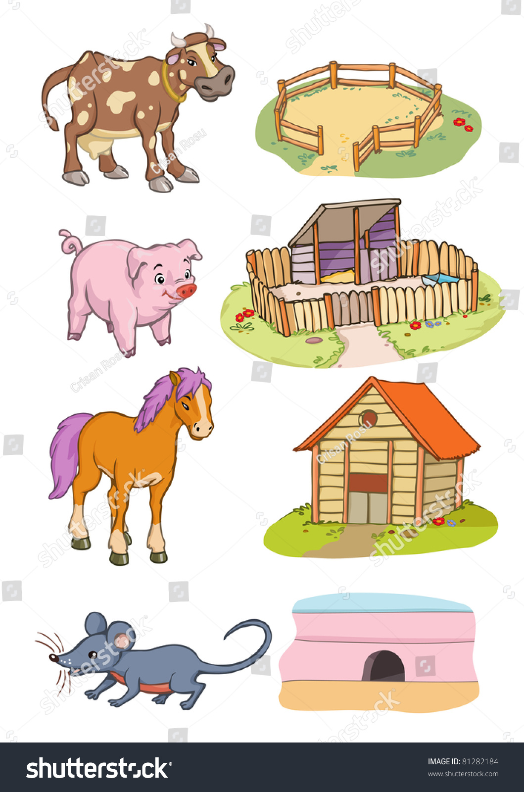 Vector Illustration Animals Habitat Cartoon Concept Vector de ...