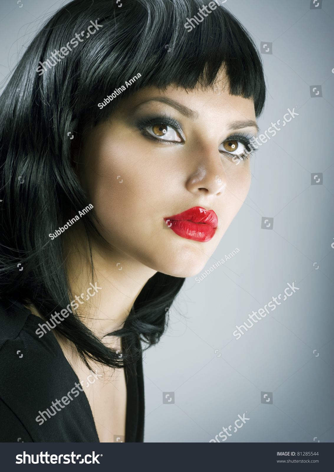 Brunette Extreme Makeup Gothic Girl Haircut Stock Photo Edit Now