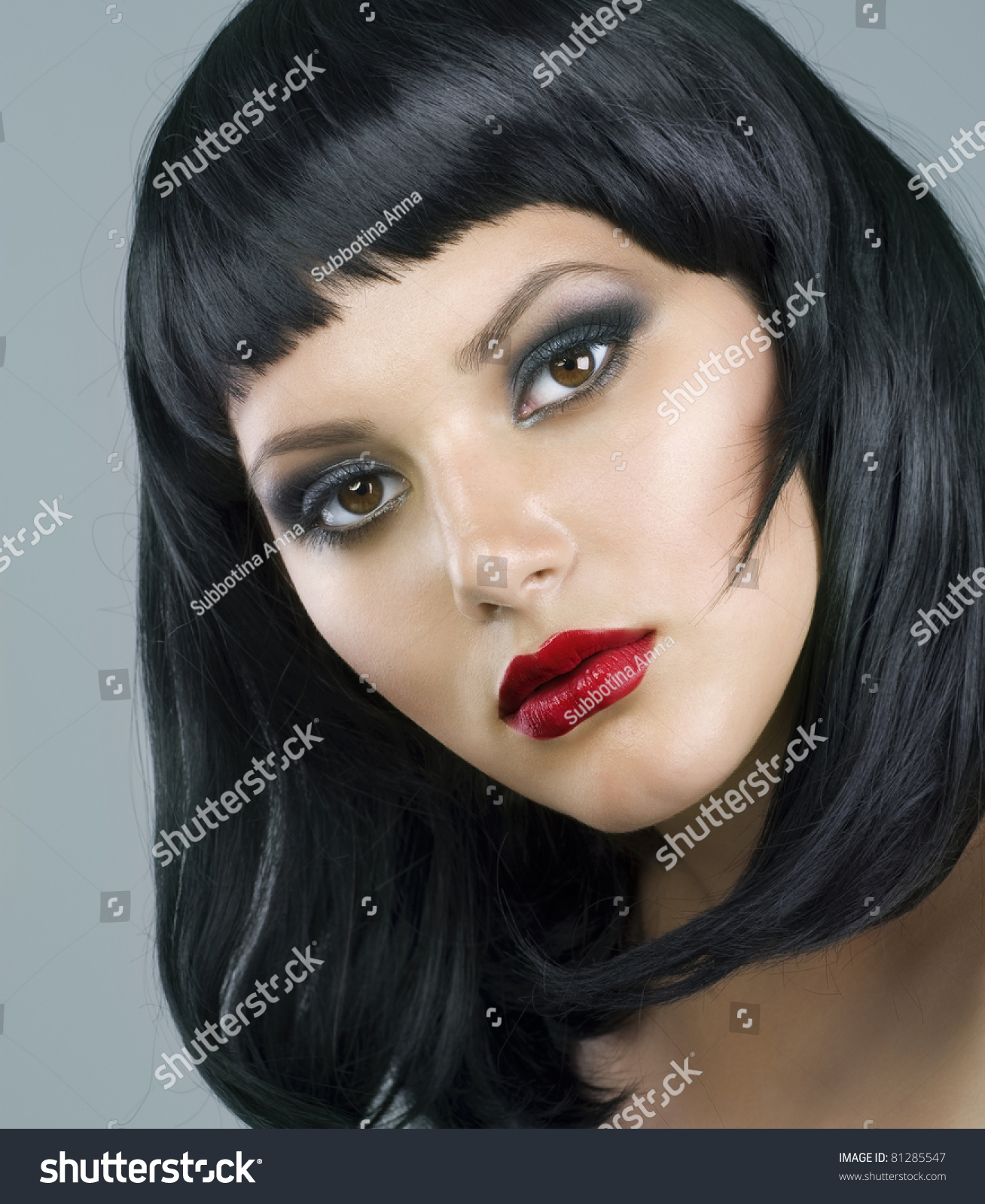 Brunette Extreme Makeup Haircut Stock Photo Edit Now 81285547