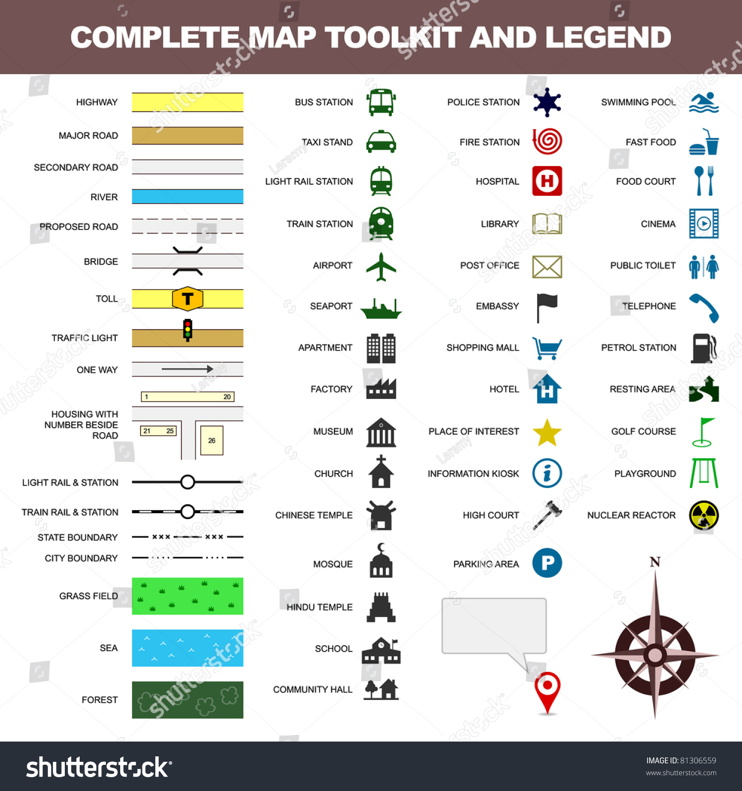 Map Icon Legend Symbol Sign Toolkit Stock Vector HD (Royalty Free
