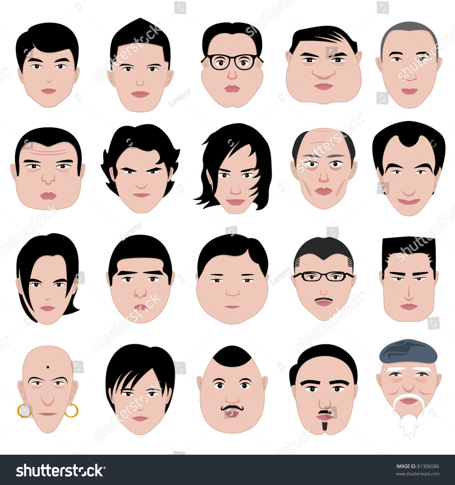 Man Face Shape Hairstyle Round Fat Stock Vector 81306586